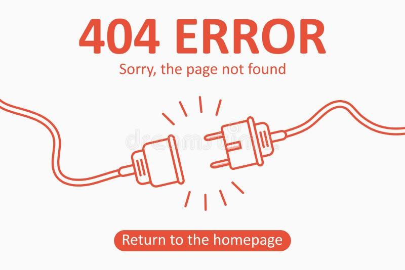 Errore 404 La pagina non ha trovato il modello con la spina elettrica e l'incavo Progettazione per la pagina Web - insegna di sco illustrazione vettoriale
