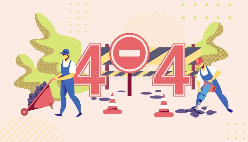 Errore 404 Lavoratori che distruggono asfalto, riparazione della strada royalty illustrazione gratis