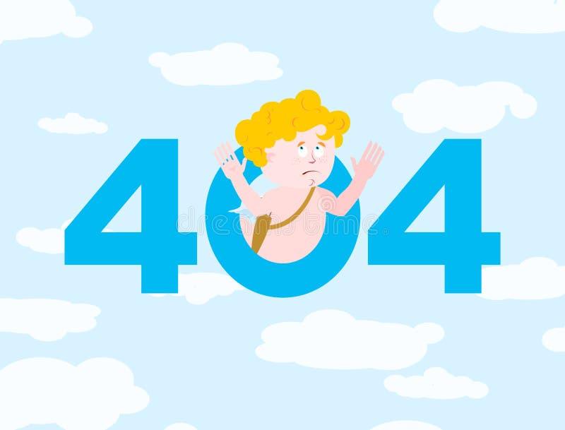 Errore 404 Sorpresa del cupido Modello non trovato della pagina per il sito Web illustrazione vettoriale