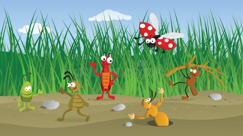 Errori di programma divertenti nell'erba royalty illustrazione gratis