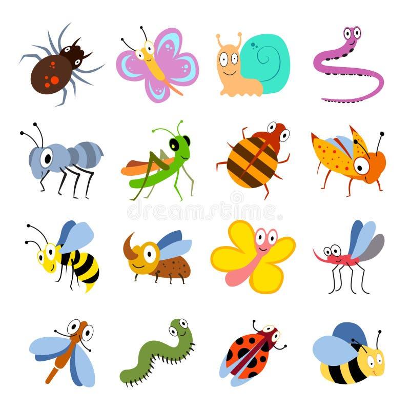 Erros bonitos e engraçados, coleção do vetor de insetos Insetos dos desenhos animados ajustados ilustração stock
