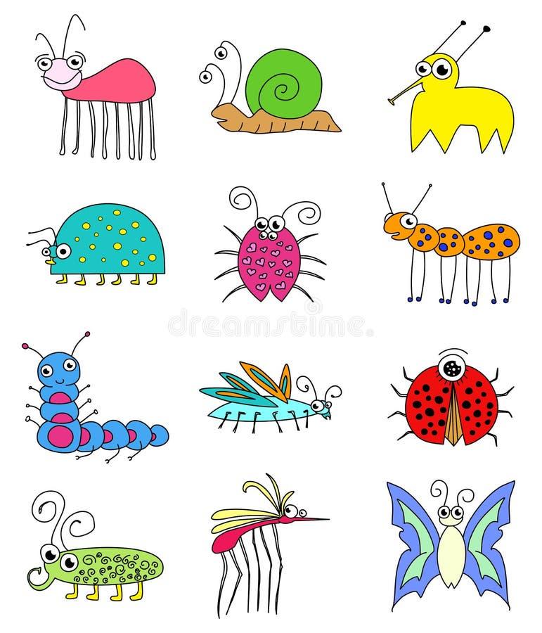 Erros coloridos engraçados dos insetos ajustados ilustração royalty free