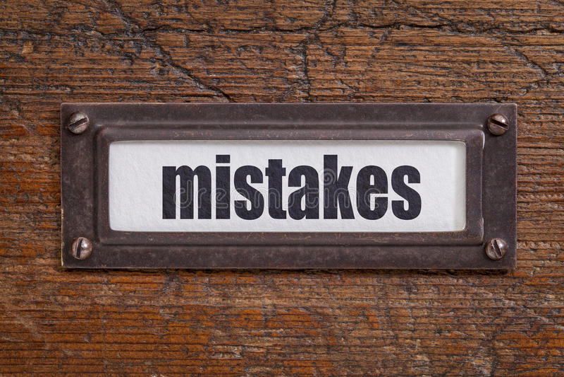 Erros - etiqueta do armário de arquivo imagens de stock