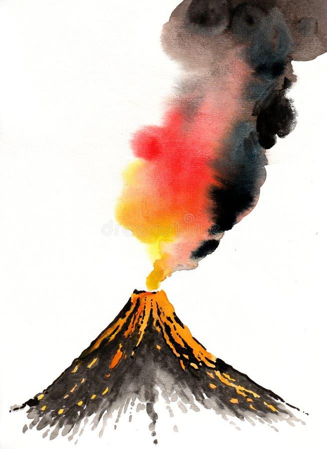 errupting wulkan ilustracji