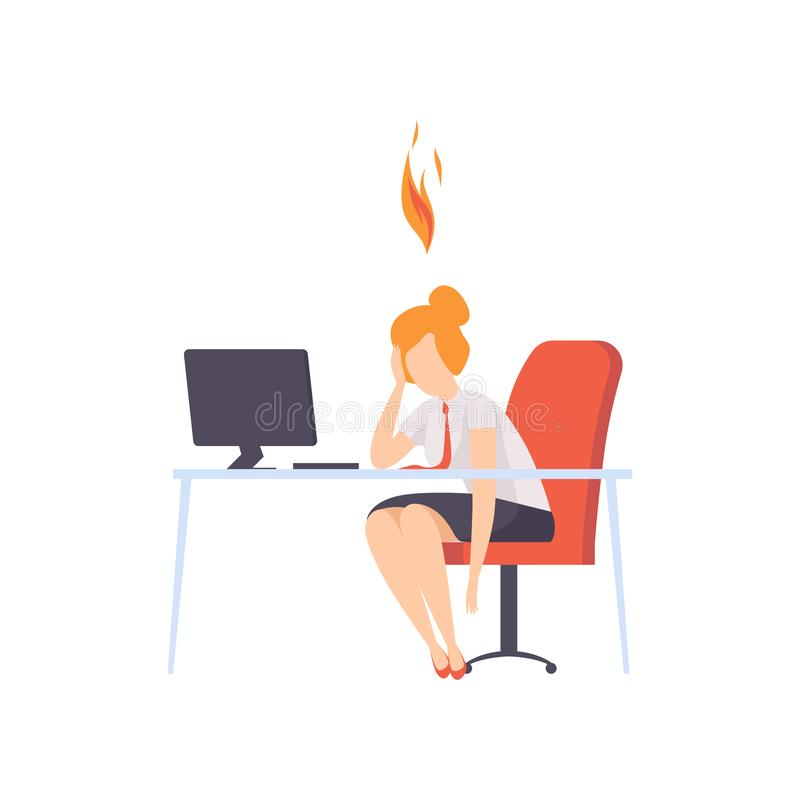 Erschöpfte müde Frau, die an ihrem Arbeitsplatz mit Computer im Büro, Geschäftsfrau mit dem brennenden Gehirn, emotional sitzt stock abbildung