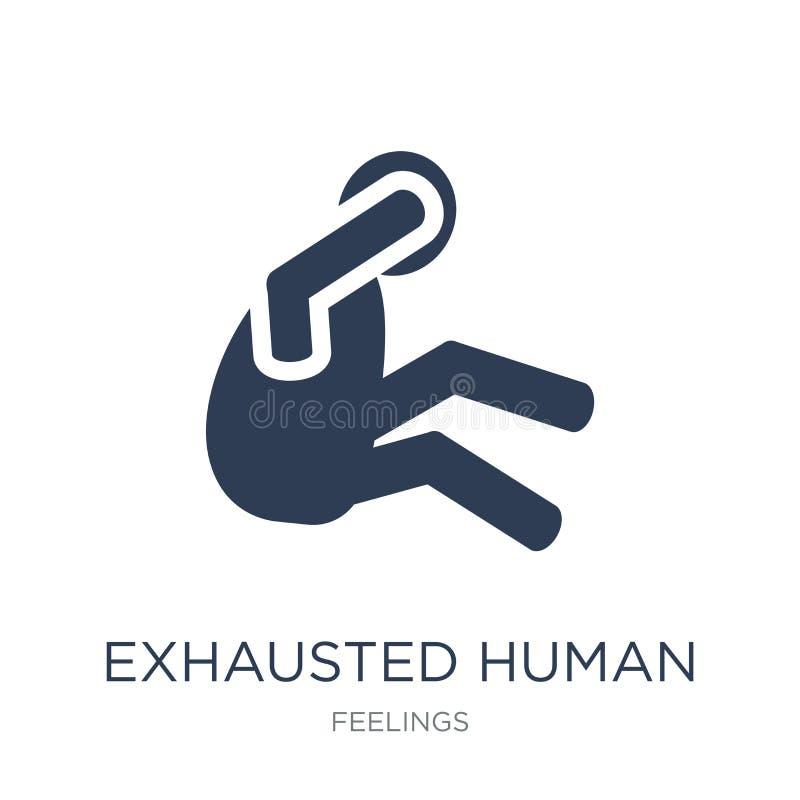 erschöpfte menschliche Ikone Modischer flacher Vektor erschöpfte menschliche Ikone an stock abbildung