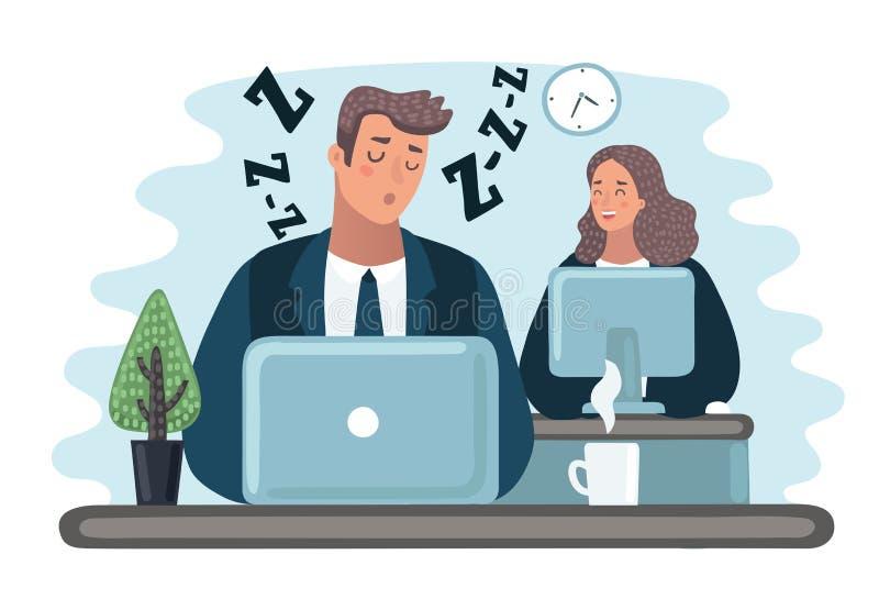 Erschöpfter Angestellter, der hinter seinem Schreibtisch schläft, während verärgerter Leiter nahe steht stock abbildung