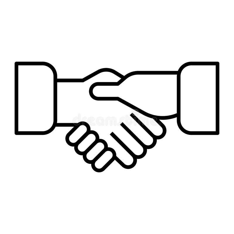 Erschütterungshanddünne Linie Ikone Händedruckvektorillustration lokalisiert auf Weiß Partnerschaftsentwurfs-Artdesign, entworfen lizenzfreie abbildung