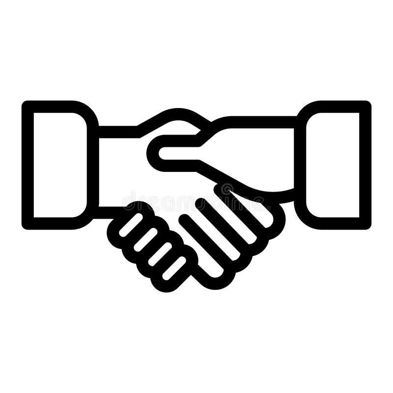 Erschütterungshandlinie Ikone Händedruckvektorillustration lokalisiert auf Weiß Partnerschaftsentwurfs-Artentwurf, entworfen für stock abbildung