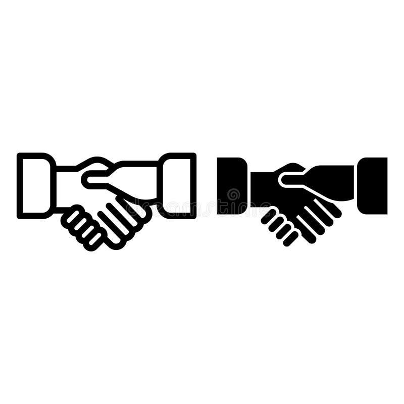 Erschütterungshandlinie und Glyphikone Händedruckvektorillustration lokalisiert auf Weiß Partnerschaftsentwurfs-Artdesign vektor abbildung