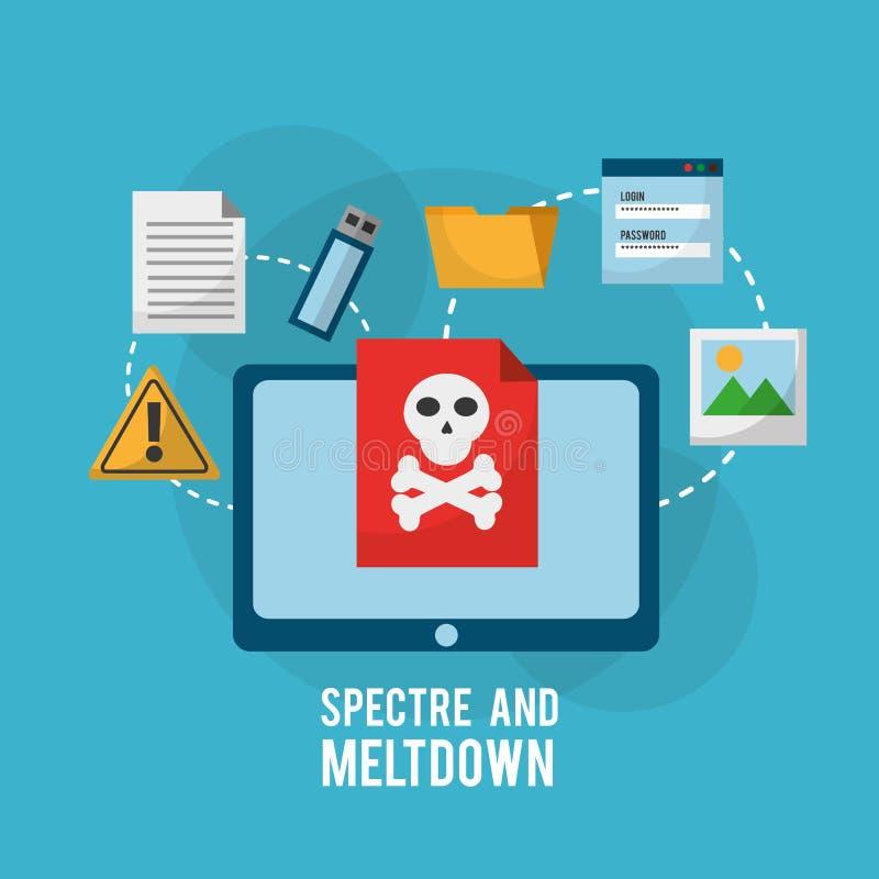 Erscheinung und Einschmelzentablet-computer-Gefahrenverwundbarkeitsinfektionsdateiinformationen stock abbildung