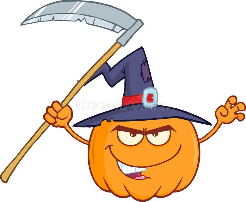 Erschrecken von Halloween-Kürbis mit einem Hexen-Hut und einer Sense stock abbildung