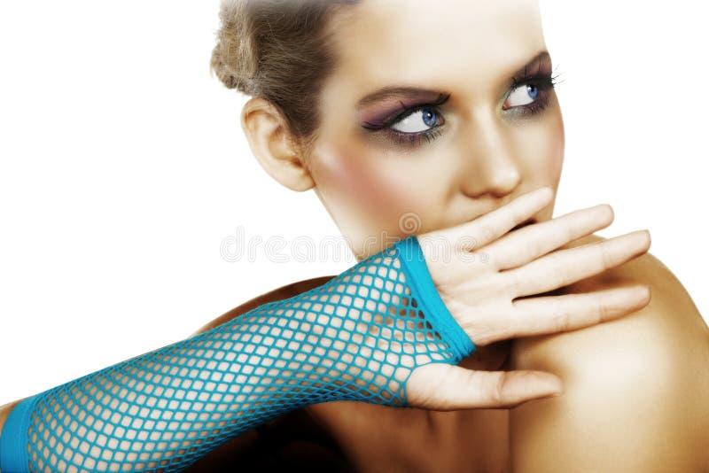 Erschrockene Frau im Blau stockbilder
