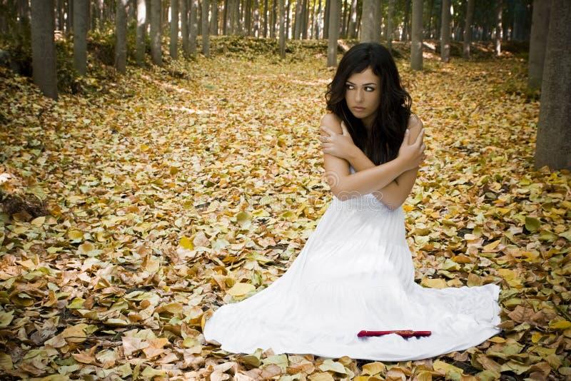 Erschrockene Frau im Holz stockbild