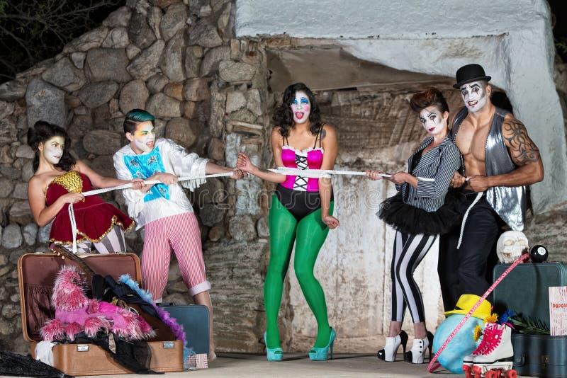 Erschrockener Clown Tied Up lizenzfreies stockbild