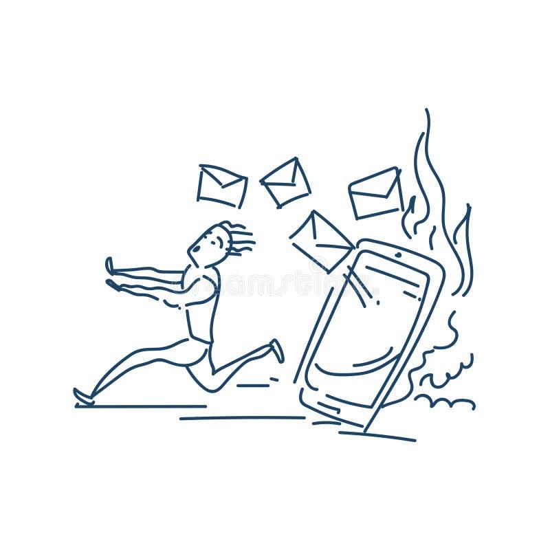 Erschrockener Geschäftsmann, der weg von vielen E-Mail jagen ihn Skizzengekritzel-Charakterdesign läuft stock abbildung