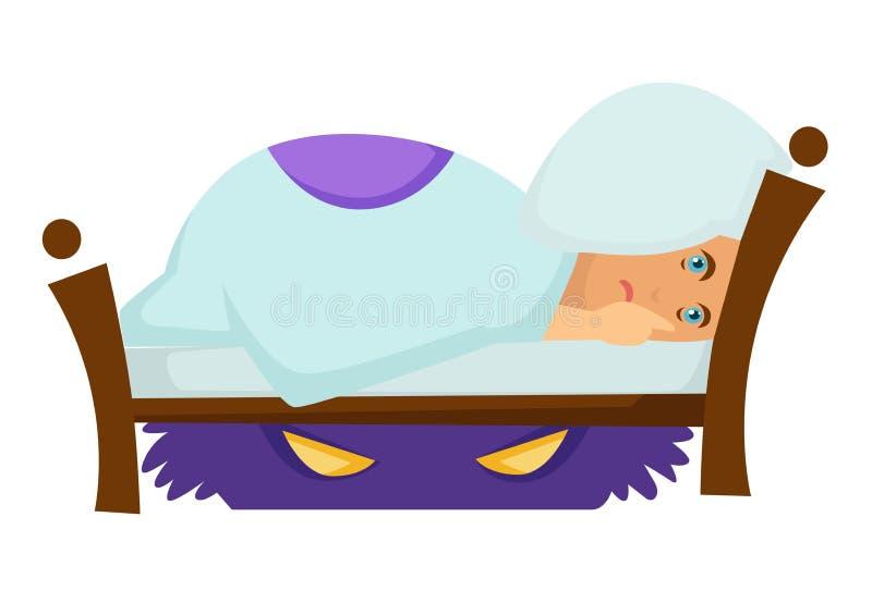 Erschrockener Jungenalptraum und -monster unter Bettphantasie und -phantasie stock abbildung
