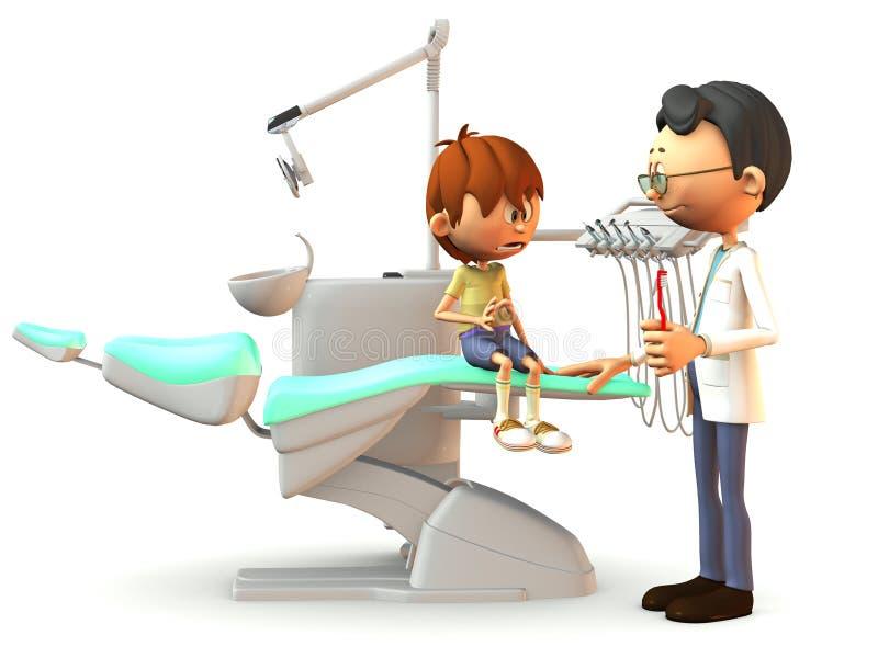 Erschrockener Karikaturjunge, der den Zahnarzt besucht. lizenzfreie abbildung