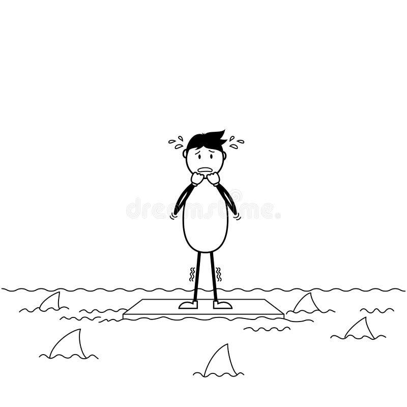 Erschrockener Karikaturstockmann umgeben durch Haifische vektor abbildung
