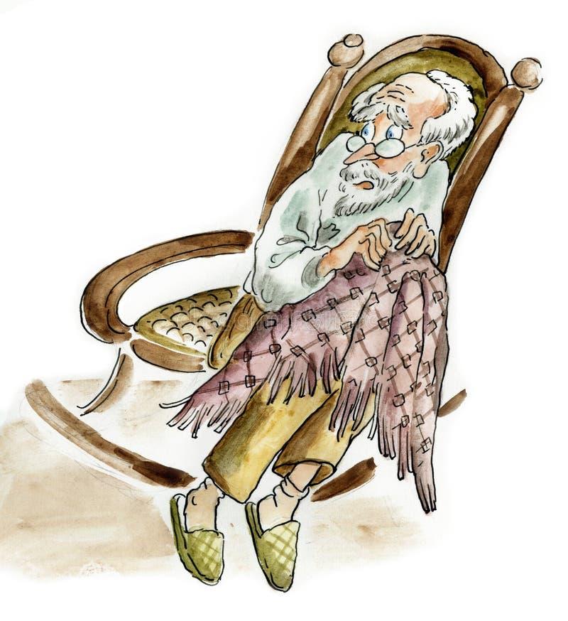 Erschrockener männlicher älterer Mann im Lehnsessel lizenzfreie abbildung