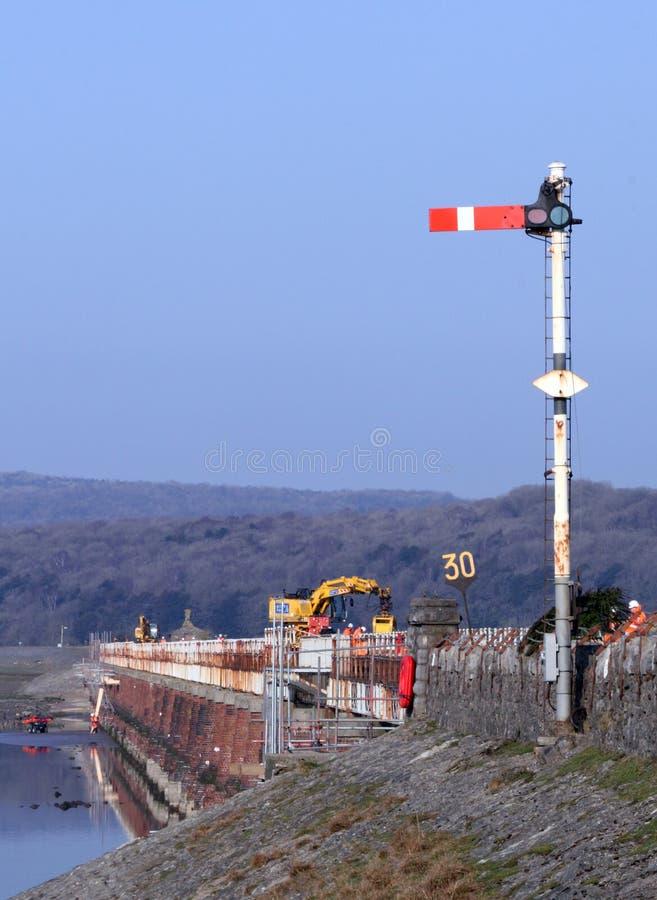 Ersetzen der Plattform von Arnside (Kent) Viaduct stockbilder