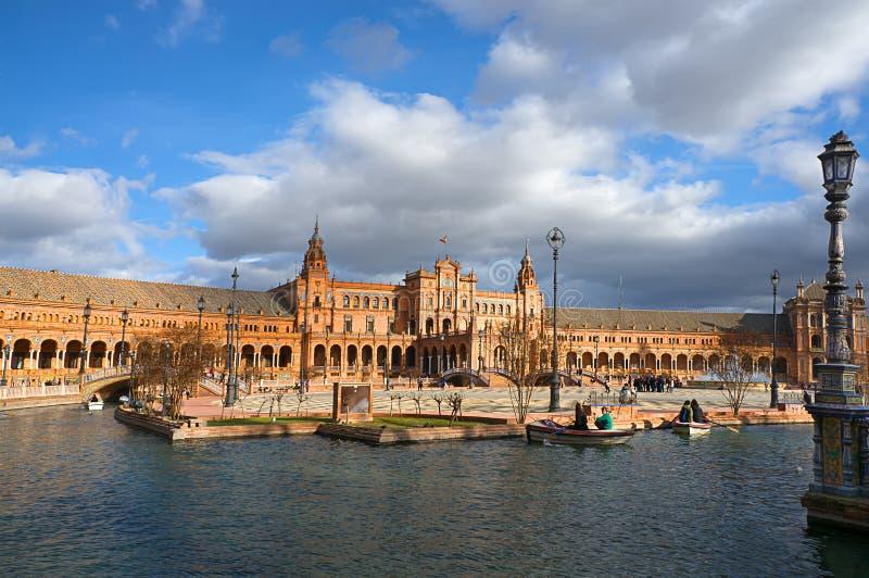 Erstaunlich schöne Plaza de Espana in Sevilla lizenzfreies stockfoto
