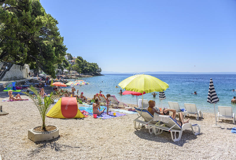 Erstaunliche Ansicht von Brela-Strand, Dalmatien, Kroatien lizenzfreie stockfotografie