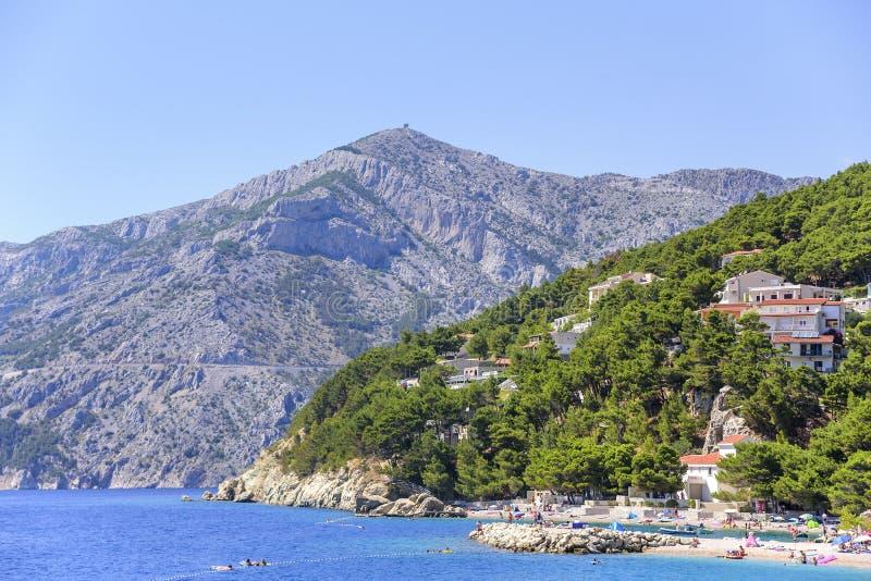 Erstaunliche Ansicht von Brela-Strand, Dalmatien, Kroatien stockbild