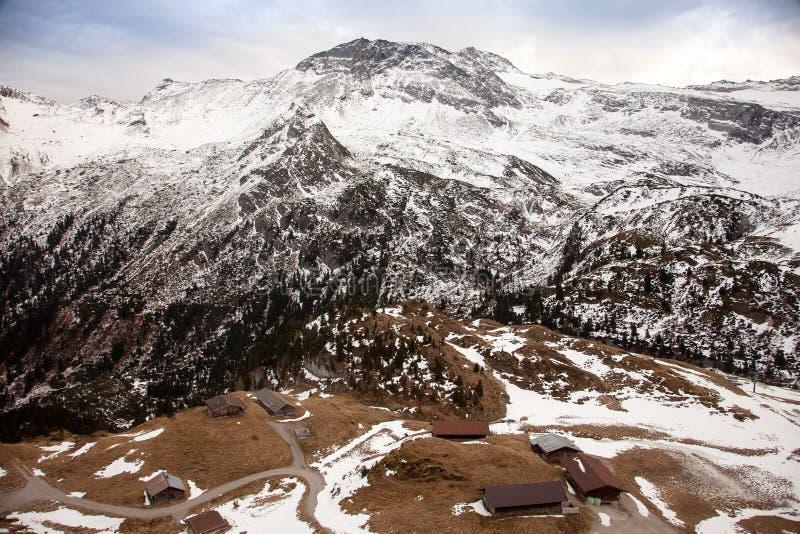 Erstaunliche Gebirgslandschaft von Hintertux, Österreich stockbilder