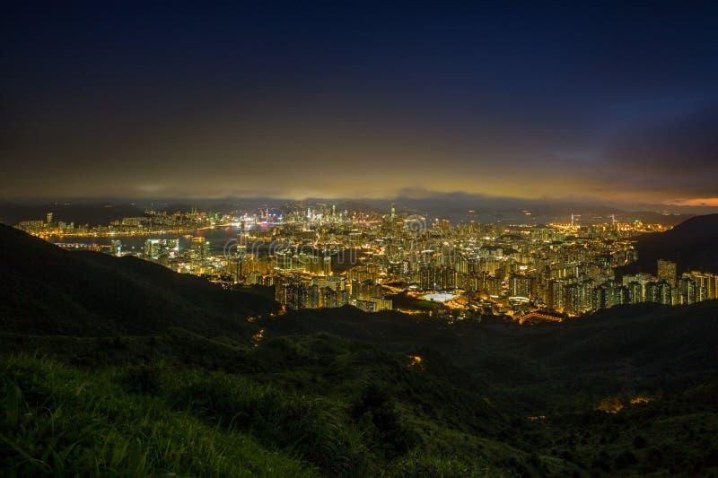 Erstaunliche goldene Skyline von Hong Kong stockfotos