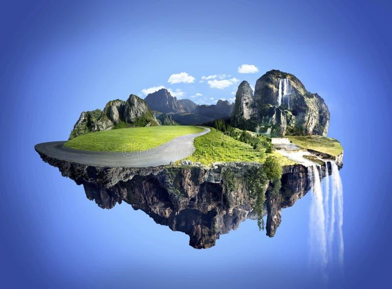 Erstaunliche Insel mit der Waldung, die in die Luft schwimmt lizenzfreie stockfotografie
