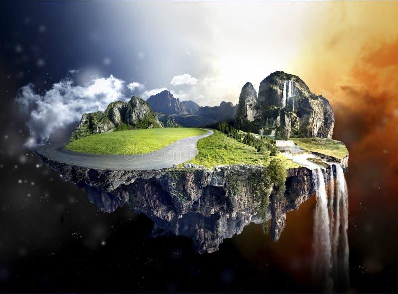 Erstaunliche Insel mit der Waldung, die in die Luft schwimmt stockbilder