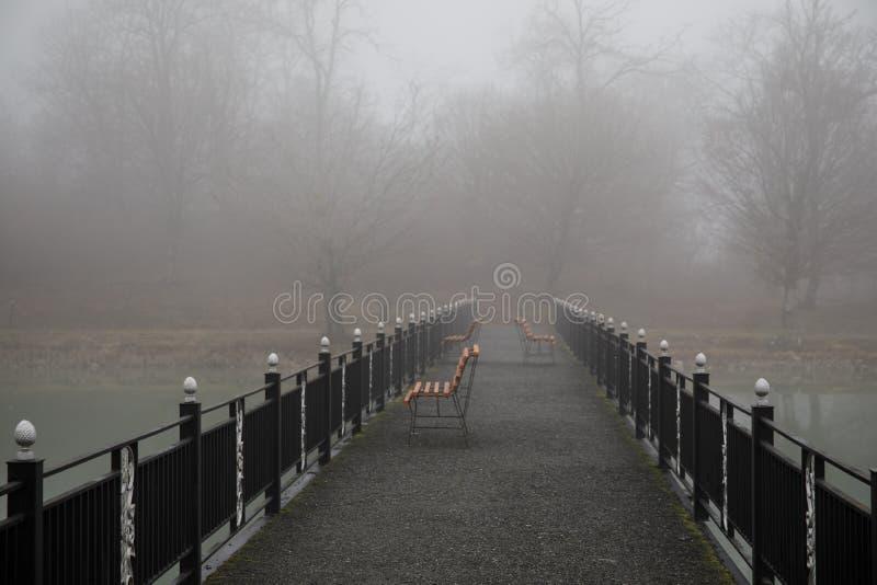 Erstaunliche Landschaft der Brücke denken über Oberflächenwasser von See nach, verdunsten Nebel vom Teich herstellen romantische  stockfotografie