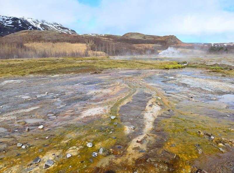 Erstaunliche Landschaft in Island mit Grünem und Gelbem im Wasser lizenzfreie stockbilder