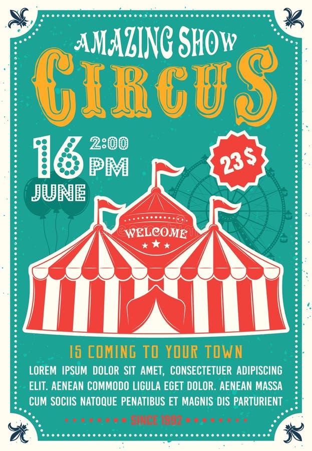 Erstaunliche Show des Zirkusses färbte Plakat in der flachen Art vektor abbildung