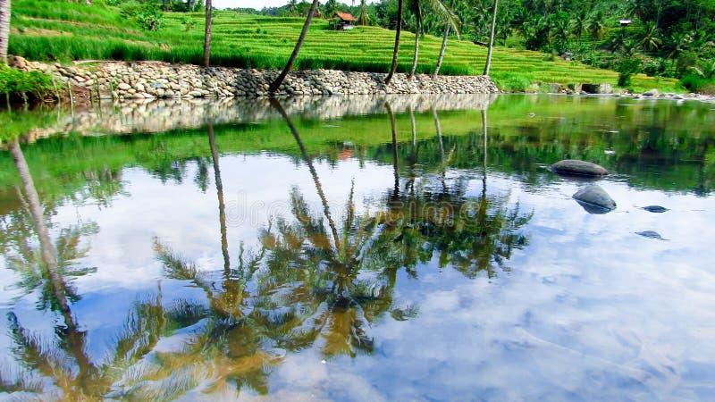Erstaunlicher Fluss in Tasikmalaya, West-Java, Indonesien stockfotos