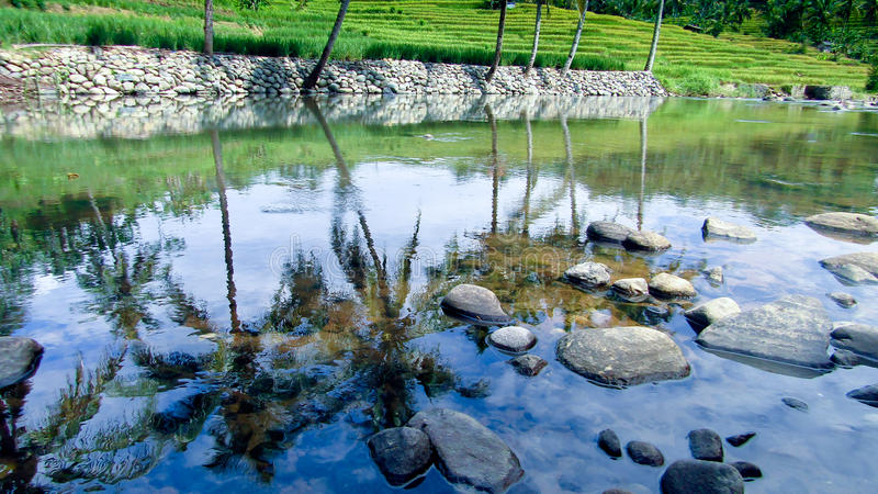Erstaunlicher Fluss in Tasikmalaya, West-Java, Indonesien lizenzfreie stockfotos