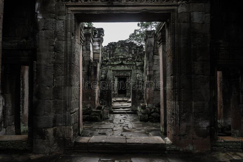 Erstaunlicher Innenraum innerhalb der Tempelruine stockfotos