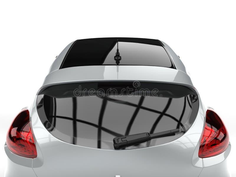 Erstaunlicher metallischer silberner moderner elektrischer Motor- Heckscheibenahaufnahmeschuß lizenzfreie abbildung