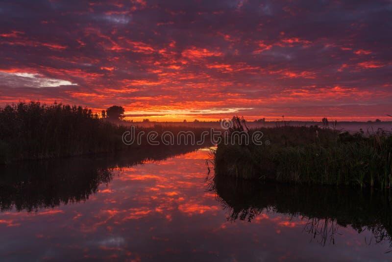 Erstaunlicher purpurroter Sonnenaufgang über Fluss lizenzfreie stockbilder