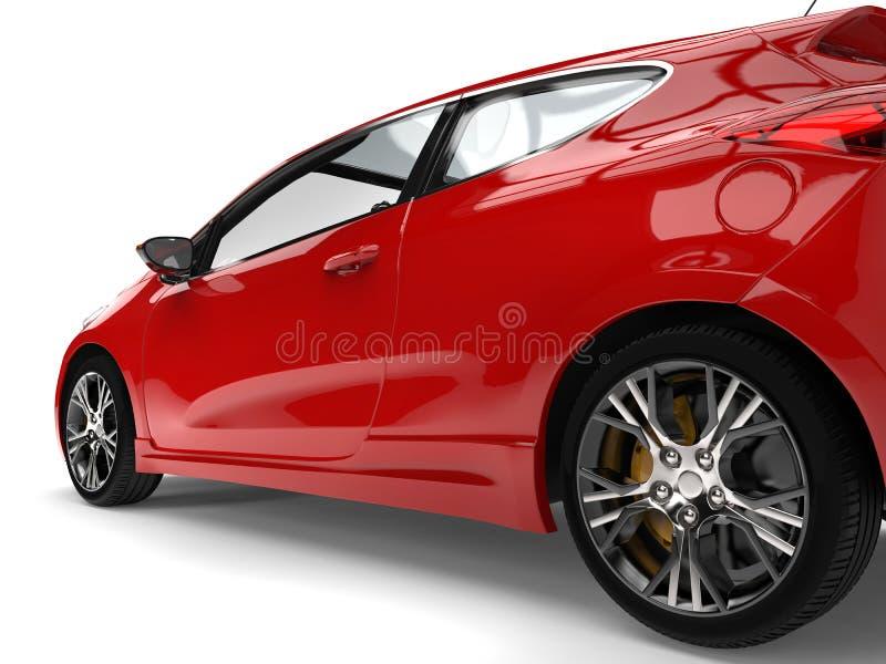 Erstaunlicher roter moderner elektrischer Motor- Hinterrad- und Türnahaufnahmeschuß stock abbildung