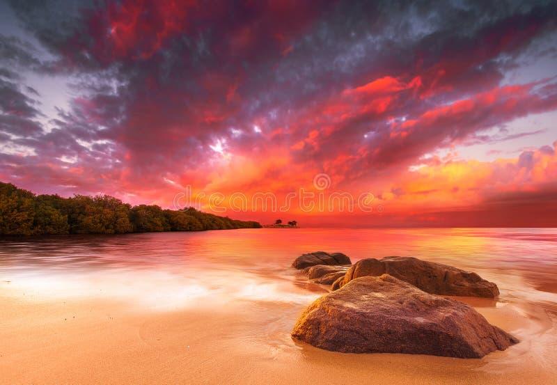 Erstaunlicher tropischer Sonnenuntergang stockfotos