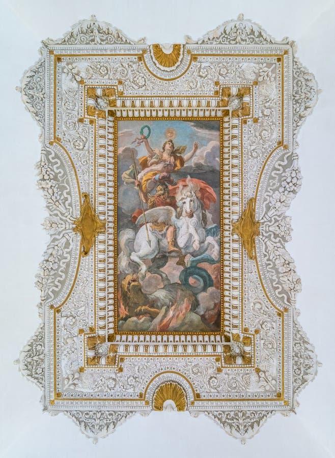 Erstaunliches Deckenfresko, Barberini-Palast in Rom, Italien stockfoto