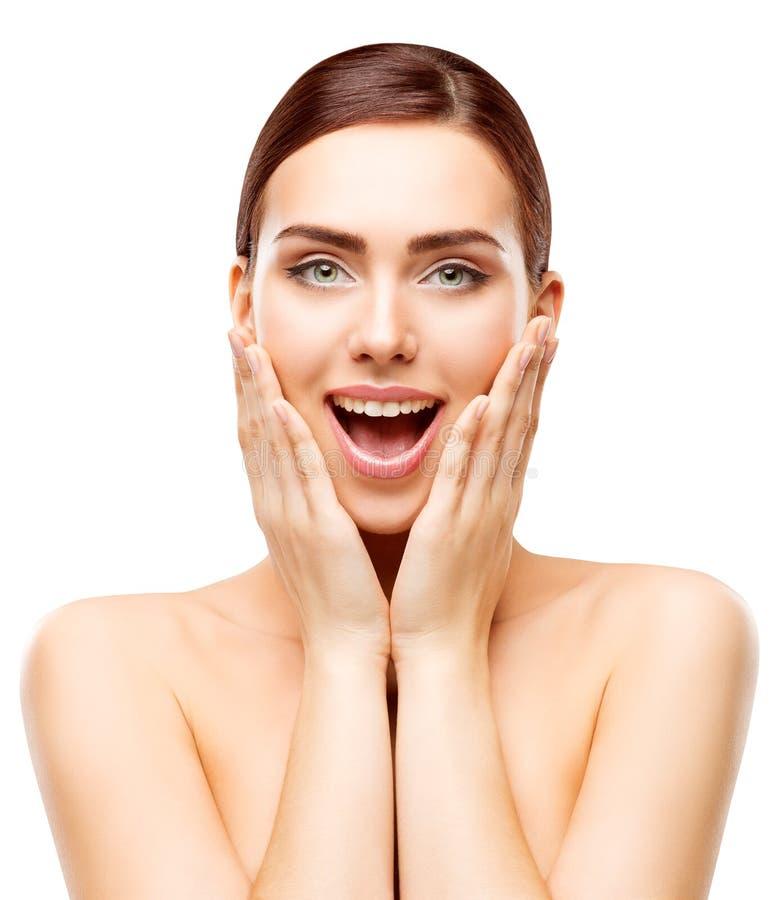 Erstauntes Schönheits-Modell, glückliches Frauen-Make-up, überraschtes Mädchen-Gesicht stockfotos