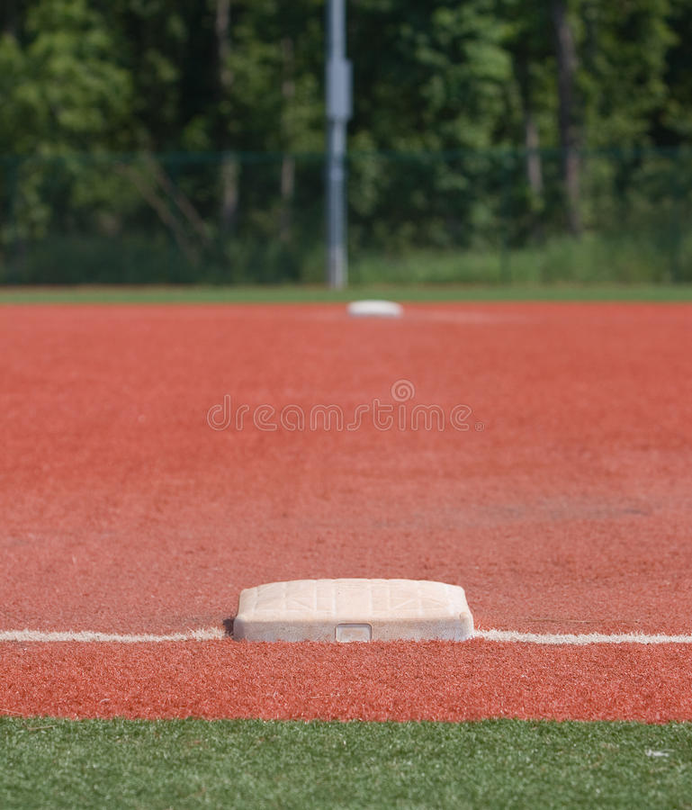 Erste Base im Baseball lizenzfreie stockfotos