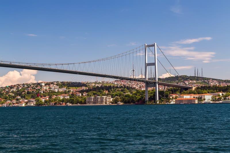 Erste Bosporus-Brücke, die Europa und Asien, Istanb im Freien anschließt lizenzfreies stockfoto