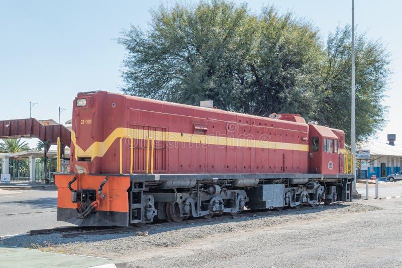 Erste dieselelektrische Lokomotive in Namibia auf Anzeige in Windh lizenzfreie stockbilder