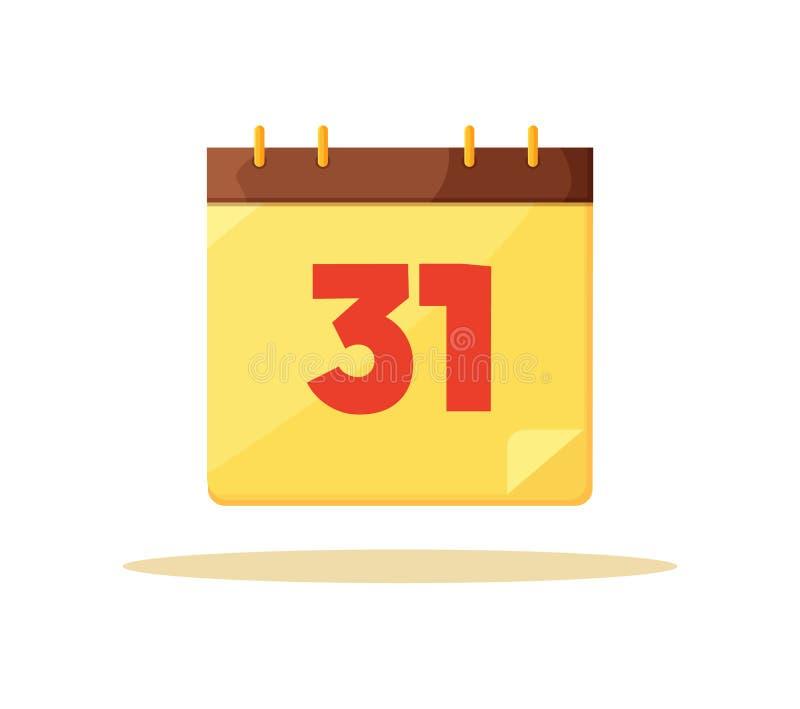 Erste dreißig Kalendertag-Karten-Vektor-Illustration stock abbildung
