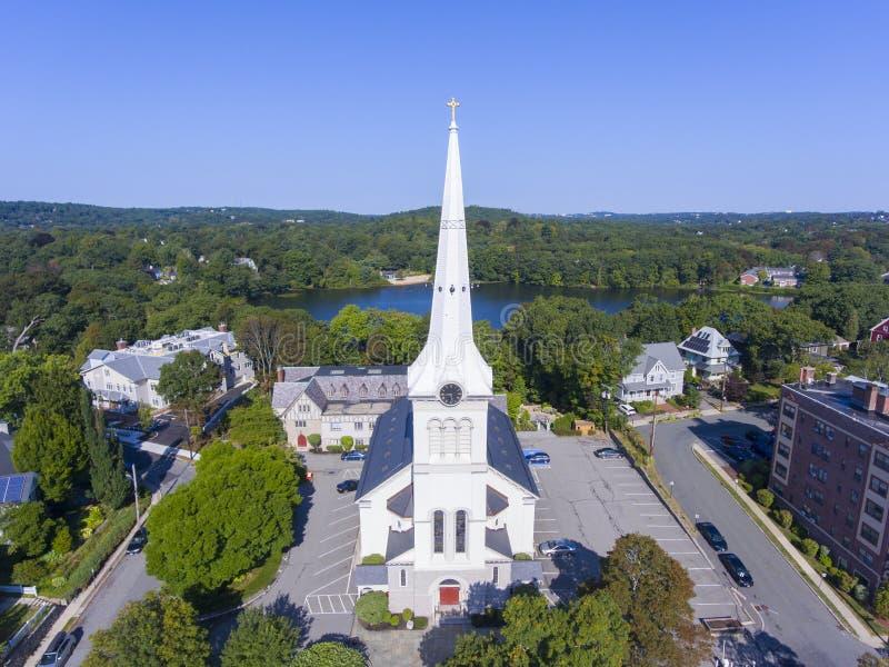 Erste Gemeindekirche, Winchester, MA, USA lizenzfreie stockfotos