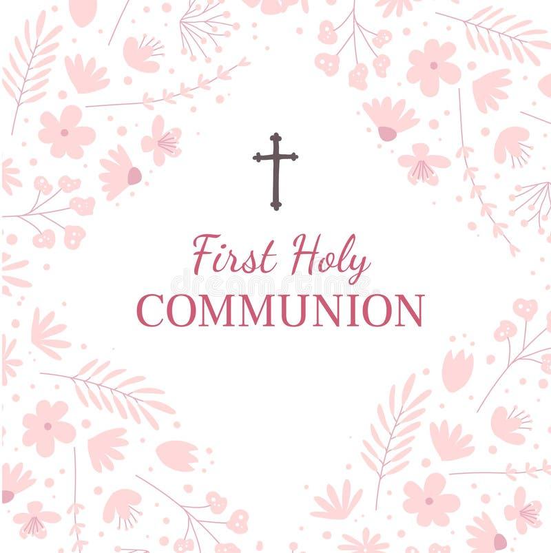 Erste Gruß-Kartenentwurfsschablone der heiligen Kommunion lizenzfreie abbildung